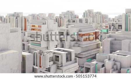 Future city scape with concrete buildings 3d rendering