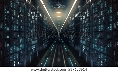 future computer server farm. 3d illustration
