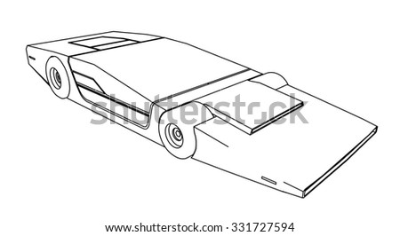 future concept car draw - stock photo