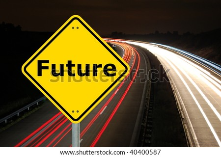 future concept with yellow road sign and copyspace - stock photo