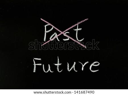 Future concept written on a blackboard. - stock photo