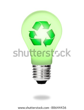 future eco green energy recycle concept, recycle symbol in electric light bulb isolated on white - stock photo