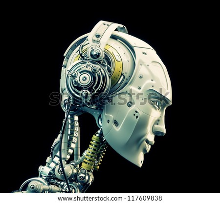 Future handsome man with headphones in profile. 3d render / Stylish robot listening music - stock photo