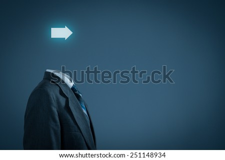 Future in business and business vision concept. Businessman with arrow instead of the head.