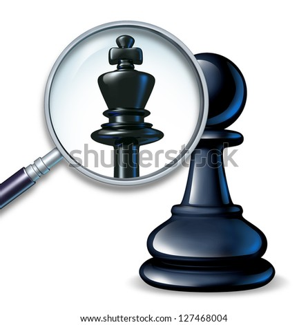 Future leader business concept with a chess game pawn and a magnifying glass showing a change to a king figure as a symbol of a rise to success and career promotion for greatness. - stock photo