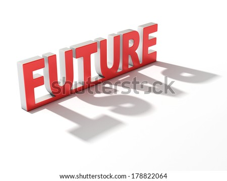 future letters casting past shadow - stock photo
