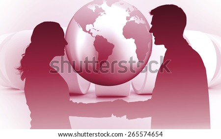 Future partners shaking hands against planet on grey abstract background - stock photo