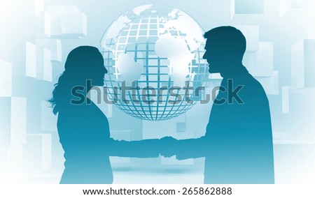 Future partners shaking hands against planet on grey background with cubes - stock photo