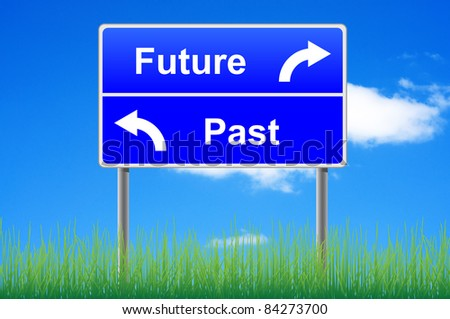 Future past conceptual signpost on sky background. - stock photo