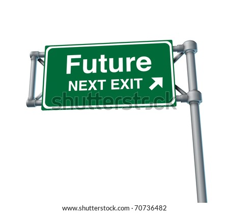 future predictions Freeway Exit Sign highway street symbol green signage road symbol isolated - stock photo