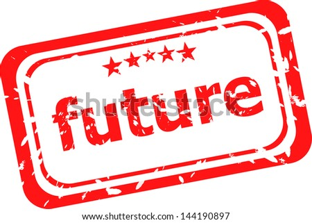 future red rubber stamp over a white background, raster