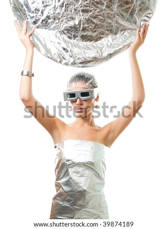 Future robot woman with metallic disk, wear silver glasses, wrapped in foil, isolated on white