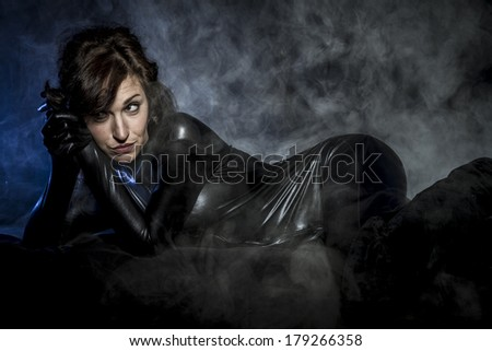 Future, Sexy brunette in black latex costume, Fashion shot of a woman in black glossy