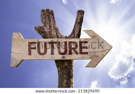 Future sign with a beautiful day on background  - stock photo