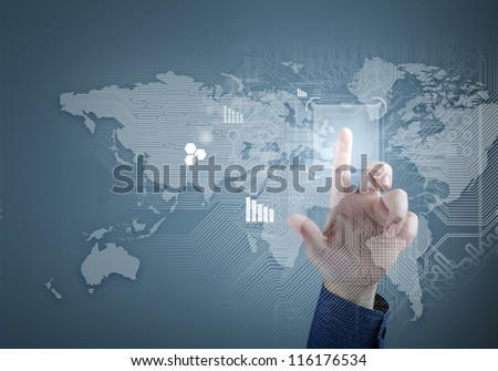 future technology and touch button inerface illustration - stock photo