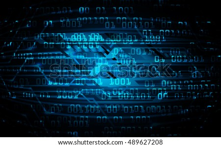 future technology, blue cyber security concept background, abstract hi speed digital internet.motion move speed blur.