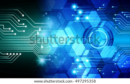future technology, blue light cyber security concept background, abstract hi speed digital data internet website. motion move speed blur. Hexagon pixel