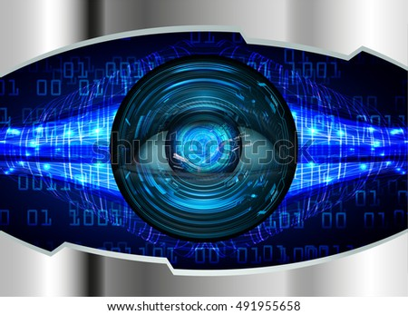 future technology, blue silver eye cyber security concept background, abstract hi speed digital internet.motion move speed blur. eyeball