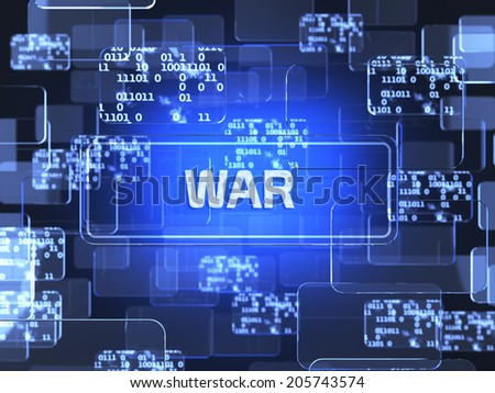 Future technology blue touchscreen interface. War concept  - stock photo