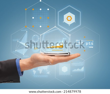 future, technology, business and people concept - close up of male hand with smartphone and hologram of graph - stock photo