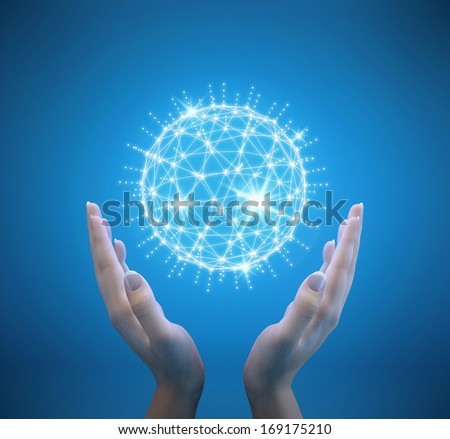 Future technology, holographic interface in hands - stock photo