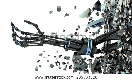 Future technology in black prosthetic hand on white - stock photo