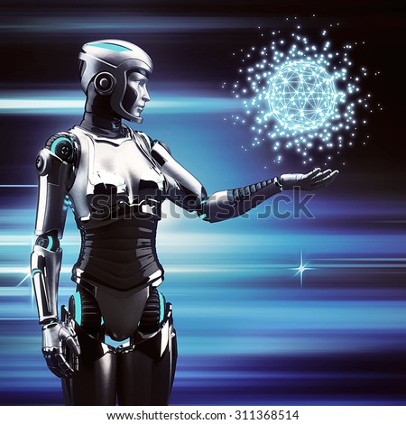 Future technology. Robot woman touch sphere interface. - stock photo