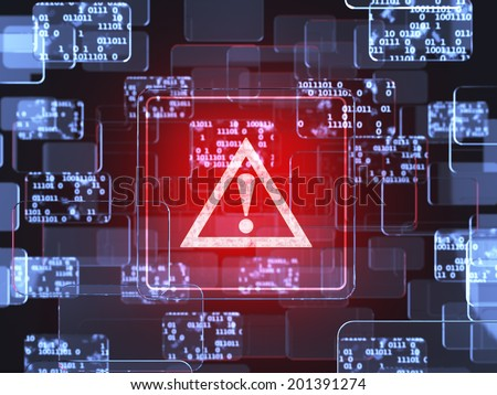 Future technology smart glass red touchscreen interface. Caution screen concept  - stock photo