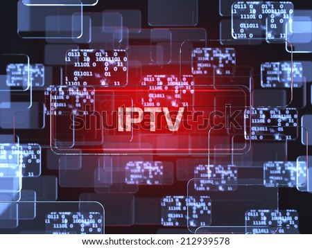 Future technology smart glass red touchscreen interface. IPTV screen concept - stock photo