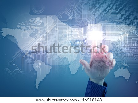 future technology. touch button inerface illustration. Concept - stock photo