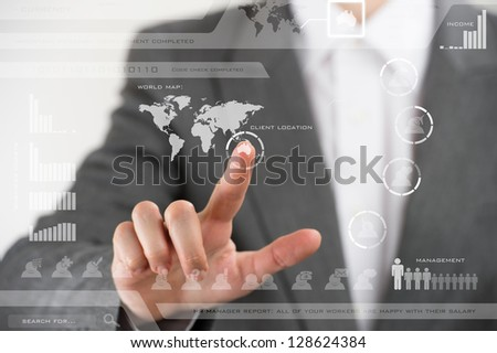 Future technology. Touch button interface. Business woman with virtual interface - stock photo