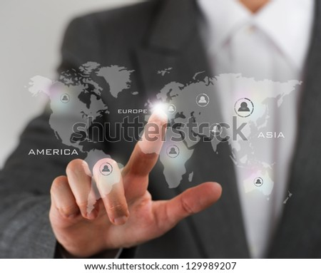Future technology. Touch button interface. Business woman with virtual interface