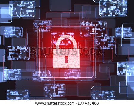Future technology touchscreen interface. Safety concept. Glass touchscreens with security lock  - stock photo