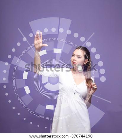 Future technology. Woman working with futuristic interface  - stock photo