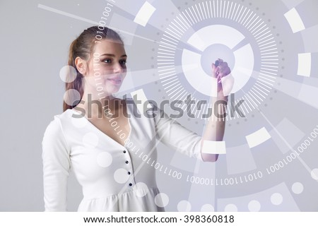 Future technology. Woman working with futuristic interface  - stock photo