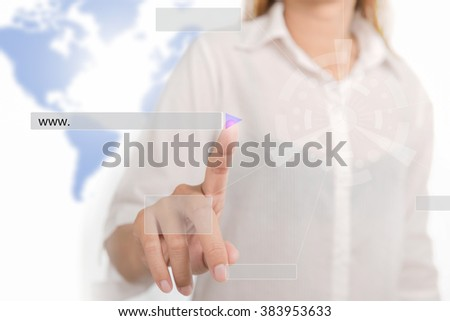 Future technology. Woman working with futuristic interface point to serve website