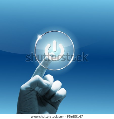 """Future touchscreen interface with hand and """"power"""" symbol. Combination of photo and graphic. Hand photo is mine. - stock photo"""