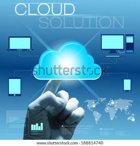 Future touchscreen interface with hand - cloud solution concept. Combination of photo and graphic. - stock photo
