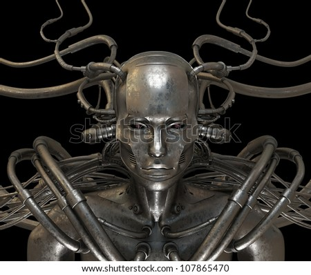 Future wired man cyborg - stock photo