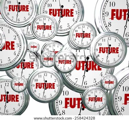 Future word on clocks moving forward toward tomorrow or next time advancing - stock photo