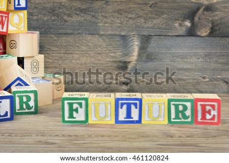 Future word on wooden table
