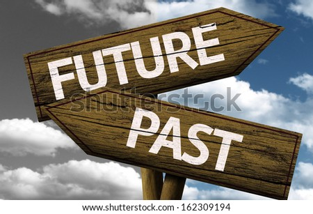 Future x Past creative sign with clouds as the background - stock photo