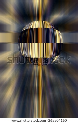 Futuristic abstract of a planet striped as if with colorful bar codes so that it is machine-readable, for themes of technology, commerce, and standardization on a universal scale - stock photo