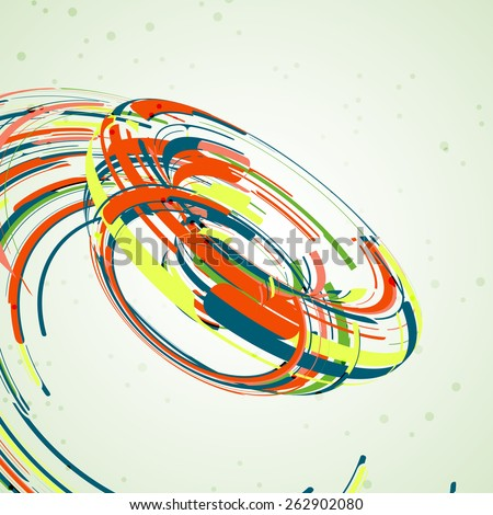 Futuristic abstract shape illustration, technology background - stock photo