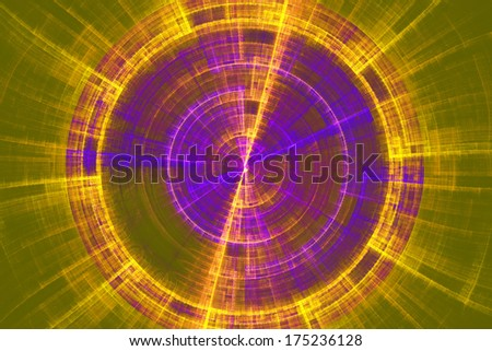 Futuristic abstract tech disc green yellow and blue fractal flame background - stock photo