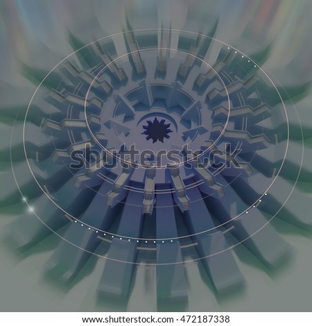 Futuristic abstract technology 3D render in circular shape with mechanical rotating parts - dark blue concept