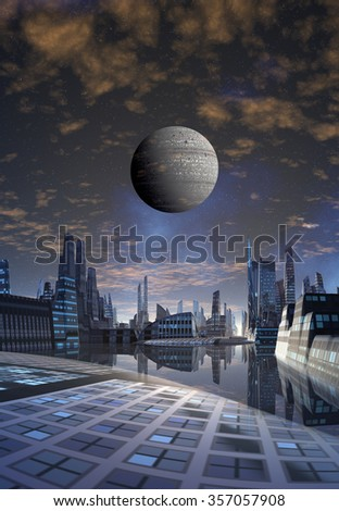 Futuristic Alien City - Computer Artwork - stock photo