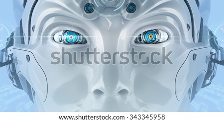 Futuristic android face with digital virtual HUD icons. Closeup bright shining mechanical eyes of a creative robot. High-tech artificial intelligence on blue background. - stock photo