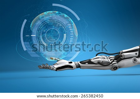 Futuristic  android hand holding virtual digital earth globe. Sci-fi technology design concept. - stock photo