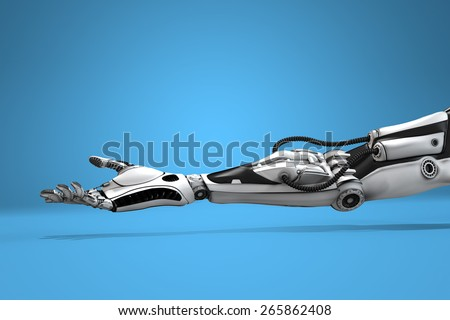 Futuristic android hand Turned Up. Sci-fi technology design concept. - stock photo